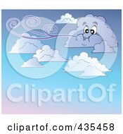 Royalty Free RF Clipart Illustration Of A Windy Cloud In A Gradient Sky