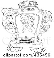 Royalty Free RF Clipart Illustration Of A Coloring Page Outline Of A Bus Driver Driving Children To School