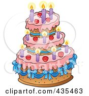Royalty Free RF Clipart Illustration Of A Pink Birthday Cake With Blue Ribbons Strawberries And Candles