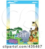 Royalty Free RF Clipart Illustration Of A Frame Of African Animals By A Watering Hole With White Space by visekart
