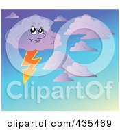 Royalty Free RF Clipart Illustration Of A Stormy Cloud In A Gradient Sky