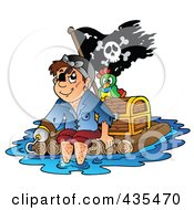 Royalty Free RF Clipart Illustration Of A Pirate Floating On A Raft With A Treasure Chest Parrot And Flag by visekart