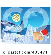 Royalty Free RF Clipart Illustration Of A Santa Hat On A Blank Sign Post Near A Winter Village