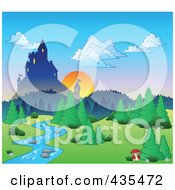 Royalty Free RF Clipart Illustration Of A Sun Setting Behind A Castle
