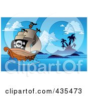 Royalty Free RF Clipart Illustration Of A Pirate Ship Sailing In The Night