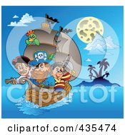 Royalty Free RF Clipart Illustration Of A Team Of Pirates Sailing At Night