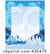 Royalty Free RF Clipart Illustration Of A Winter Village Frame With Copyspace