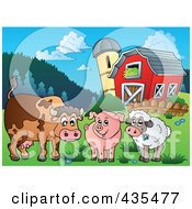 Royalty Free RF Clipart Illustration Of A Cow Pig And Lamb By A Barn