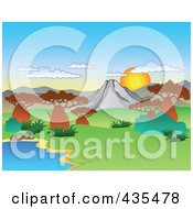 Royalty Free RF Clipart Illustration Of The Sun Rising Over An African Landscape
