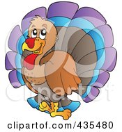 Royalty Free RF Clipart Illustration Of A Happy Turkey Bird by visekart