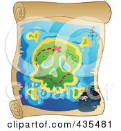 Royalty Free RF Clipart Illustration Of An Antique Pirate Treasure Map On Parchment