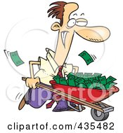 Royalty Free RF Clipart Illustration Of A Caucasian Businessman Pushing A Wheelbarrow Full Of Cash by toonaday