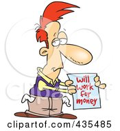 Royalty Free RF Clipart Illustration Of A Broke Cartoon Man Holding A Will Work For Money Sign by toonaday