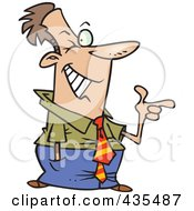 Royalty Free RF Clipart Illustration Of A Winking And Pointing Caucasian Businsesman