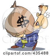 Caucasian Businessman Carrying A Heavy Money Bag by toonaday