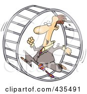 Caucasian Businessman Running In A Wheel