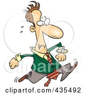 Late Cartoon Businessman Running And Glancing At His Watch