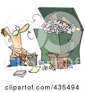 Royalty Free RF Clipart Illustration Of A Cartoon Businessman Tossing More Waste Into A Full Dumpster