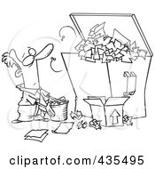 Royalty Free RF Clipart Illustration Of A Line Art Design Of A Businessman Tossing More Waste Into A Full Dumpster