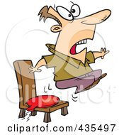 Cartoon Man Bouncing Out Of His Chair After Sitting On A Whoopee Cushion