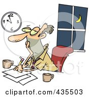 Royalty Free RF Clipart Illustration Of An Exhausted Caucasian Businessman Working Overtime