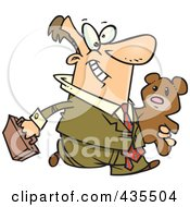 Royalty Free RF Clipart Illustration Of A Caucasian Businessman Carrying His Teddy Bear To Work