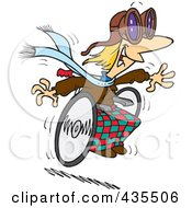 Royalty Free RF Clipart Illustration Of A Cartoon Handicap Person Racing Downhill On A Wheelchair by toonaday