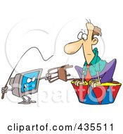Royalty Free RF Clipart Illustration Of A Computer Training A Caucasian Businessman With A Whip