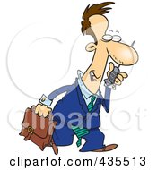 Royalty Free RF Clipart Illustration Of A Caucasian Businessman Walking And Talking On A Cell Phone