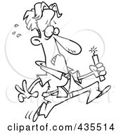 Royalty Free RF Clipart Illustration Of A Line Art Design Of A Worried Businessman Running With Dynamite by toonaday