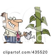 Happy Cartoon Businessman Watering A Monstrous Plant Showing Business Growth