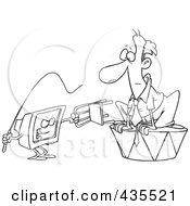 Royalty Free RF Clipart Illustration Of A Line Art Design Of A Computer Training A Businessman With A Whip