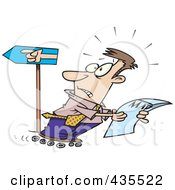 Royalty Free RF Clipart Illustration Of A Rollerblading Caucasian Businessman Reading A Map And Going The Wrong Way by toonaday