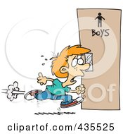 Royalty Free RF Clipart Illustration Of A Little Boy Running To The Restroom