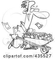 Royalty Free RF Clipart Illustration Of A Line Art Design Of A Businessman Pushing A Wheelbarrow Full Of Cash