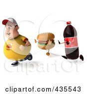 Royalty Free RF Clipart Illustration Of A 3d Chubby Burger Man Running From A Soda And Cheeseburger