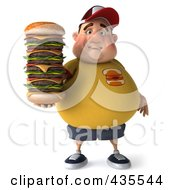 Royalty Free RF Clipart Illustration Of A 3d Chubby Burger Man Holding A Giant Burger 2