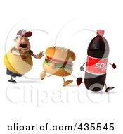 Royalty Free RF Clipart Illustration Of A 3d Chubby Burger Man Chasing A Soda And Cheeseburger