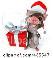 3d Christmas Mouse Carrying A Gift 1