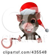 Royalty Free RF Clipart Illustration Of A 3d Christmas Mouse With A Blank Sign 1