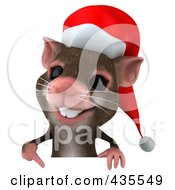 Royalty Free RF Clipart Illustration Of A 3d Christmas Mouse With A Blank Sign 2