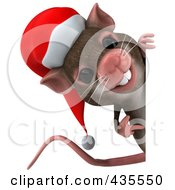Royalty Free RF Clipart Illustration Of A 3d Christmas Mouse With A Blank Sign 3