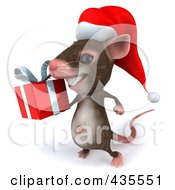 Royalty Free RF Clipart Illustration Of A 3d Christmas Mouse Carrying A Gift 2