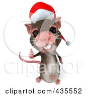 3d Christmas Mouse Holding A Thumb Up 2