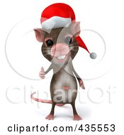 3d Christmas Mouse Holding A Thumb Up 1