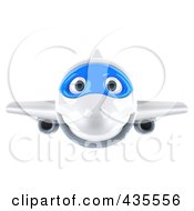 Royalty Free RF Clipart Illustration Of A 3d Blue And White Airplane Flying Forward