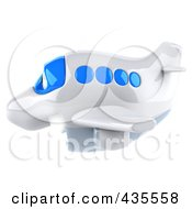 Royalty Free RF Clipart Illustration Of A 3d Blue And White Airplane Flying Left
