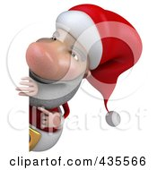 Royalty Free RF Clipart Illustration Of A 3d Santa With A Blank Sign 3