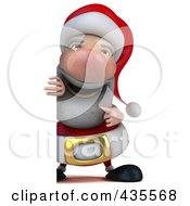 Royalty Free RF Clipart Illustration Of A 3d Santa With A Blank Sign 1
