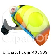 Royalty Free RF Clipart Illustration Of A 3d Toucan Holding Up A Thumb Up Over A Blank Sign